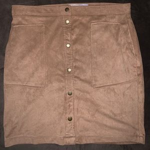 Jolt Button Down Faux Suede Mini Skirt (Juniors)